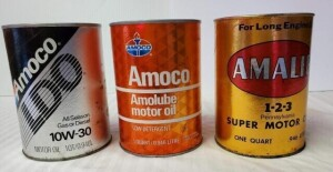 (3) MOTR OIL QUART CANS - AMOCO AMOLUBE MOTOR OIL FULL QUART CAN, WRITING AND COLOR IS GOOD, SMALL RUBS AND ROUGH SPOTS, TOP RIM MOSTLY CLEAR, TOP IS CLEAR, LOWER RIM MOSTLY CLEAR, BOTTOM CLEAR WITH SLIGHT DENT -- AMOCO LDO ALL SEASON GAS OR DIESEL EMPTY