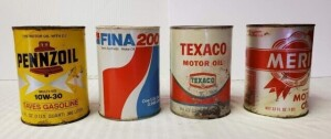 (4) MOTOR OIL QUART CANS - TEXACO MOTOR OIL FULL QUART CAN, SAE 30 HD, CAN IS WORN, PAINT IS WORN AND PEELING, LOWER IS DISCOLORED, WRITING IS LEGIBLE, SHOWS RUST PITTING, TOP RIM AND TOP SHOWS RUST PITTING, BOTTOM IS MOSTLY BRIGHT WITH AREA OF RUST -- PE
