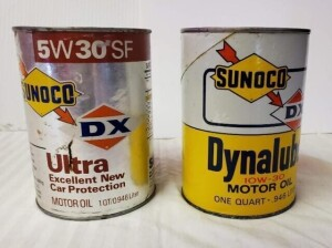 (2) SUNOCO DX MOTOR OIL QUART CANS - DYNALUBE OIL EMPTY QUART CAN, WRITING IS BRIGHT, NUMEROUS SPOTS, OPENING HOLES ON TOP, TOP IS MOSTLY BRIGHT WITH SLIGHT PITTING, LOWER RIM SHOWS TARNISH, BOTTOM SHOWS RUST AND PITTING -- ULTRA MOTOR OIL EMPTY QUART CAN