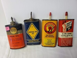 "(4) VINTAGE OIL CANS - SEARS ROEBUCK AND CO. GUN OIL, APPEARS EMPTY, SIZE 3.5"" TALL, LEAD TOP, OVAL, NUMEROUS SCRATCHES, USE DISCOLORATION, TOP SHOWS WEAR, PAPER TAG STUCK ON BOTTOM -- GOODYEAR GENERAL USE OIL, ALMOST EMPTY, 4 OZ. CAN, SIZE 4"" TALL, LEAD"