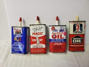 "(4) VINTAGE SMALL OIL CANS, ALMOST FULL LIQUID WRENCH SUPER LUBRICANT, 4 FL OZ CAN, SIZE 4.5"" TALL, PLASTIC SPOUT AND CAP, WRITING IS GOOD, TOP HAS LIGHT PITTING, SILVER BOTTOM CLEAR -- SUPER SEAL GUNK SUPER OIL, 4 FL. OZ. CAN, SIZE 4.5"" TALL, PLASTIC SPO"