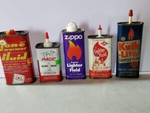 "(5) SMALL CANS - TAP MAGIC CUTTING FLUID, 4 FL OZ SIZE 3.5"" TALL, APPEARS HALF FULL, PLASTIC SPOUT AND CAP, STICKER RESIDUE, SILVER WORN ON TOP WITH RUST, LOWER RIM HAS TURNED, MARKS ON BOTTOM SILVER -- ZIPPO, 4 FL. OZS., SIZE 5.75"" TALL, HALF FULL, DEEP"