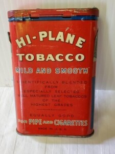 "VINTAGE TOBACCO TIN - HI-PLANE SMOOTH CUT TOBACCO FOR PIPE AND CIGARETTES, SIZE 4.75"" x 3"" x .75"", COLOR IS GOOD, FEW SCRATCHES, SLIGHT RUB, PAINT RUBS, LOWER RIM SMOOTH WITH SPOTS, BOTTOM IS BRIGHT"