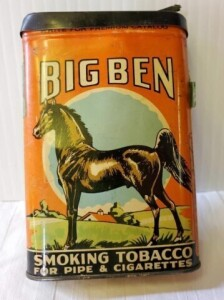 "VINTAGE TOBACCO TIN - BIG BEN SMOKING TOBACCO FOR PIPE & CIGARETTES, SIZE 4.75"" x 3"" x .75"", BRIGHT COLORS, SCRATCHES, PAINT RUBBED ON BACK, BOTTOM HAS STICKER RESIDUE"