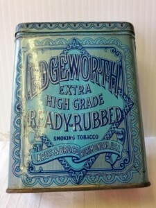 "VINTAGE TOBACCO TIN - EDGEWORTH EXRA HIGH GRADE READY-RUBBED SMOKING TOBACCO,LARUS & BRO. CO. RICHMOND, VA. U.S.A., SIZE 4.5"" TALL x 3.5"" x 1.25"", WRITING IS LEGIBLE, SHOWS SOME WEAR AND SCRATCHES, PARTIAL END STAMPS, FADING. TOP HAS GOOD COLOR, SCRATCHES"