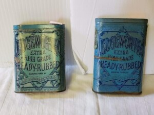 "(2) VINTAGE TOBACCO TINS - EDGEWORTH EXTRA HIGH GRADE READY-RUBBED, LARUS & BRO. CO. RICHMOND, VA. U.S.A. - 1ST CAN SIZE 3.9"" TALL x 3"" WIDE x .75"", TOP HAS ""SERIES OF 1910"" TAG, CLEAR WRITING, SHOWS WEAR, PAINT SCRATCHES, INSIDE IS BRIGHT, SPOTS ON LOWER"
