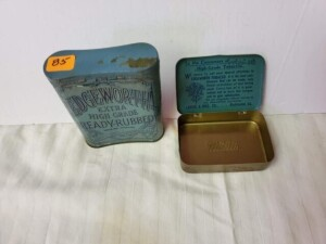 "(2) VINTAGE TOBACCO TINS - EDGEWORTH EXTRA HIGH GRADE - 1ST CAN SIZE 3"" WIDE x 2"" x .75"", WRITING LEGIBLE, FEW SCRATCHES, SHOWS WEAR, TOBACCO STAMP ON ONE END, WRITING UNDER LID IS LEGIBLE WITH BRIGHT BACKGROUND, LIGHT PITTING WITH WEAR ON BOTTOM -- 2ND C"