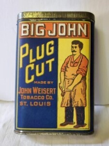 "VINTAGE TOBACCO TIN - BIG JOHN PLUG CUT, MADE BY JOHN WEISERT TOBACCO CO. ST. LOUIS - SIZE 4.5"" TALL x 3"" x .75"", COLOR IS GOOD, TOP EDGE OF PAPER BAND SLIGHTLY TORN, TOP SILVER SHOWS SPECKS, COLOR WORN ON EDGES, LOWER RIM SHOWS WEAR, BOTTOM IS BRIGHT"
