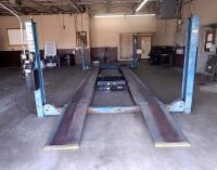 ROTARY AUTOMOTIVE LIFT  ~ 4 POST HYDRAULIC LIFT - BLUE - 12,000 LB. CAPACITY - BOLTS TO CONCRETE FLOOR - DRIVE ON RAMPS - DIMENSIONS: OUTSIDE EDGE OF POSTS 10 FT. 6 IN. X 17 FT. 6 IN. - HAS BEEN IN SERVICE UP UNTIL SHOP MOVED A FEW WEEKS AGO.  LIFT SELLS - 5