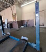 ROTARY AUTOMOTIVE LIFT  ~ 4 POST HYDRAULIC LIFT - BLUE - 12,000 LB. CAPACITY - BOLTS TO CONCRETE FLOOR - DRIVE ON RAMPS - DIMENSIONS: OUTSIDE EDGE OF POSTS 10 FT. 6 IN. X 17 FT. 6 IN. - HAS BEEN IN SERVICE UP UNTIL SHOP MOVED A FEW WEEKS AGO.  LIFT SELLS - 8