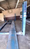 ROTARY AUTOMOTIVE LIFT  ~ 4 POST HYDRAULIC LIFT - BLUE - 12,000 LB. CAPACITY - BOLTS TO CONCRETE FLOOR - DRIVE ON RAMPS - DIMENSIONS: OUTSIDE EDGE OF POSTS 10 FT. 6 IN. X 17 FT. 6 IN. - HAS BEEN IN SERVICE UP UNTIL SHOP MOVED A FEW WEEKS AGO.  LIFT SELLS - 4