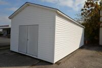 MODERN VINYL STORAGE BUILDING - 13 Ft. x 28 Ft. - (2) 3 FT. ENTRY DOORS (6 FT. X 6 FT. OPENING) - 8 FT. STUD SIDEWALLS & JOISTS - PLYWOOD FLOOR - NO INSULATION INTERIOR WALL OR CEILING.  BUILDING SITTING ON ASPHALT WITH EASY ACCESS.  BUYER RESPONSIBLE FOR - 2