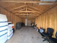 MODERN VINYL STORAGE BUILDING - 13 Ft. x 28 Ft. - (2) 3 FT. ENTRY DOORS (6 FT. X 6 FT. OPENING) - 8 FT. STUD SIDEWALLS & JOISTS - PLYWOOD FLOOR - NO INSULATION INTERIOR WALL OR CEILING.  BUILDING SITTING ON ASPHALT WITH EASY ACCESS.  BUYER RESPONSIBLE FOR - 4