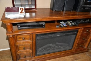 MAHOGANY TV STAND WITH ELECTRIC LOG INSERT