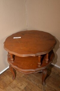 PIECRUST LIVING ROOM TABLE - ODD LEGS - SHOWS WEAR