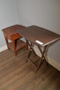 END TABLE, NEEDS REFINISHING -- TELEPHONE STAND --