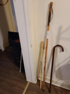 "WALKING CANE -- WALKING STICK -- ""OLD HICKORY CLAY"