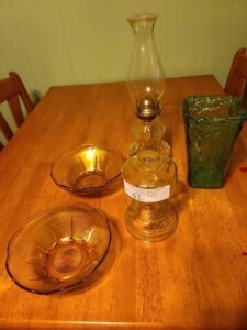 OIL LAMP BASE -- OIL LAMP WITH GLOBE -- (2) AMBER