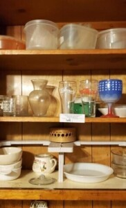 GLASSES AND DISHES IN KITCHEN CABINETS - TOP