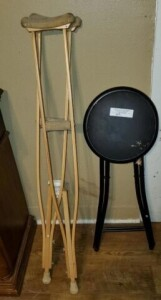 PAIR OF SMALL WOOD CRUTCHES -- FOLDING STOOL