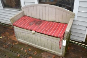 PLASTIC PORCH BENCH - CUSHION SOILED - NEEDS