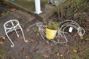 WIRE GOOSE-SHAPED PLANTER -- ELEPHANT-SHAPED
