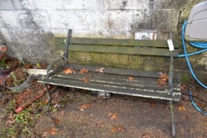 METAL FRAMED WOOD BENCH - NEEDS REPAIR