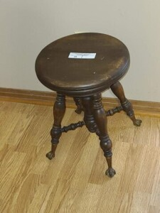 ORGAN STOOL WITH TURNED CENTER DROP - 4 TURNED