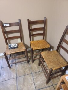 (3) SLAT-BACK STRAIGHT CHAIRS WITH TURNED KNOBS AT