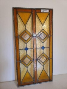 "LEADED STAINED-GLASS WINDOW - SIZE 20"" x 40"""