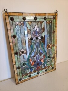 "LEADED GLASS, CHAIN TO HANG, SIZE 18.75"" x 25"""