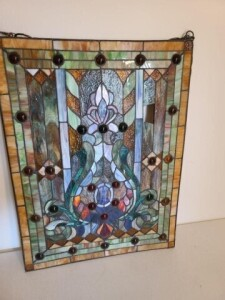 "LEADED GLASS, CHAIN TO HANG, SIZE 18.75"" x 25"","