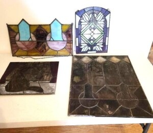 (4) LEADED GLASS PIECES - SMALL HANGING LEADED