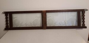 PAINTED GLASS PANELS IN BRACKET FRAME - 2 TURNED