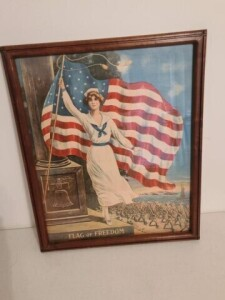 "FRAMED PICTURE OF A NURSE - ""FLAG OF FREEDOM"""