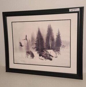 FRIENDS OF NRA MOOSE PRINT WITH WOLVES, FRAMED