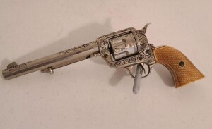 ENGRAVED TOY SIX SHOOTER PISTOL - WHITE HANDLE
