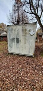 ENCLOSED TRUCK BED STORAGE BUILDING ** SELLS SEPARATE  AND TO BE REMOVED**  PURCHASER TO REMOVE WITHIN 29 DAYS FROM AUCTION **  REAR OVERHEAD DOOR NEEDS REPAIRS (8 FT. X 18 FT. 5 INCHES)