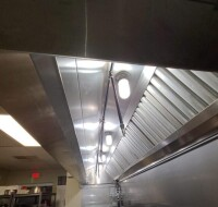 STAINLESS OVERHEAD VENT HOOD - 13 FT. 6 1/4 IN. LONG (162 1/4 IN.)  - 4 FT.  DEPTH X 28 1/2 IN. TALL - STAINLESS WALL SHEETS SURROUNDING VENT HOOD AREINCLUDED WITH THE SALE OF THE HOOD UNLESS THEY ARE GLUED TO WALL - ROOF FANS (AIRINTAKE & OUT-TAKE ARE NO - 4