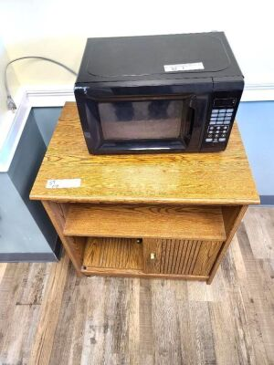 MICROWAVE AND WOOD MICROWAVE STAND