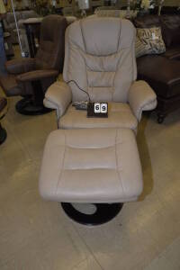 BROOKS VIBRATING CHAIR & VIBRATING FOOTSTOOL - BURGUNDY $739.95