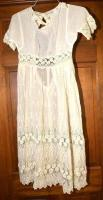 VINTAGE WHITE LACE DRESS-NEEDS REPAIR AROUND COLLAR FLOWERS