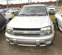 2004 CHEVROLET TRAIL BLAZER VIN: 1GNDS13S542248146 – HOOK BATTERY UP TURNS TO START AND HORN BLOWS – VORTEX 4,200 MOTOR – GREY – TIRES AIRED – QUARTER PANEL BENT ABOVE AND BELOW LIGHT - Engine: VORTEX 4,200 MOTOR Color: GREY Miles: 283,282