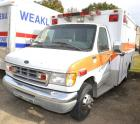FORD E 350 AMBULANCE VIN: 1FBWE30F5X8A64866 RUNS FINE - STARTER DRAGS SOME - MAY NEED BATTERIES- PAINT MISSING ON FRONT – HALF DUALS – BODY APPEARS GOOD – PAINT PEELING WHERE DECAL IS BLUE – Engine: POWER STROKE TURBO DIESEL Miles: 205,707
