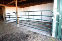 GATES & PANELS  IN MORTON SHOW BARN - INCLUDES ALL PANEL & GATES INSIDE & OUTSIDE CATTLE BARN - (23) BIG VALLEY 12 FT. GATES PANELS, (8) GATES, 1 BOW GATE, (4) 6 FT. GATES - SOME ON HANGERS -3 DIFFERENCE ROWS PLUS CROSS GATES & GATES AT NORTH END OF BARN