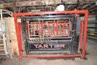 TARTER FARM & RANCH HYD. SQUEEZE CHUTE -SERIES 12 PALPATION CAGE -  3 LEVER HDY. CONTROL FOR HEADGATE, TAILGATE & SQUEEZE - FULLY INTEGRATED HYD. TANK WITH HYD. FLUID AND FILTER - POWERFUL 2HP, 110 VOLT, FULLY ENCLOSED MOTOR - EASY-FLAP NECK ASSIST