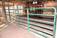 "BIG VALLEY GREEN GATES & PANELS IN AUCTION BLDG. - (19) GATES & PANELS INSIDE & OUTSIDE OF THE AUCTION BLDG.  - 1 BOW GATE 10 FT. - BIG VALLEY GATE 8 FT. HEAVY DUTY 2"" 6 RAIL - BIG VALLEY GATE 10 FT. - GREEN GATES  ATTACHED TO SE CORNER OF AUCTION BARN -"