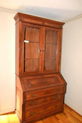 WALNUT SECRETARY, GLASS DOORS, SLANT FRONT DESK