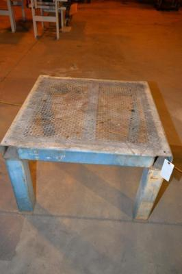 STEEL SHOP TABLE WITH MESH TOP, 4 X 4 SQUARE TUBE